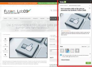 scoop.it bookmarklet esempio condivisione articolo fusion lab09