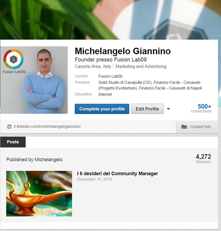 attivare il blog sul profilo linkedin post nel profilo