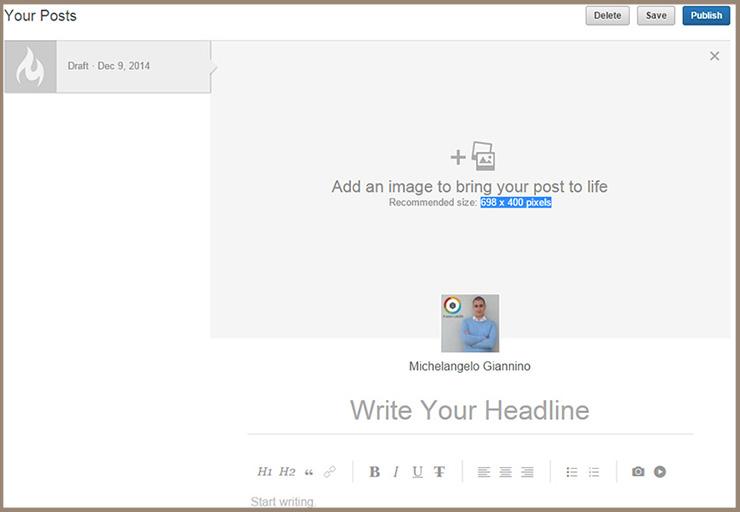 esempio creazione post pulse linkedin