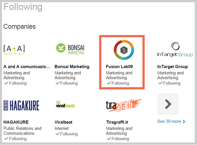 brand page linkedin following