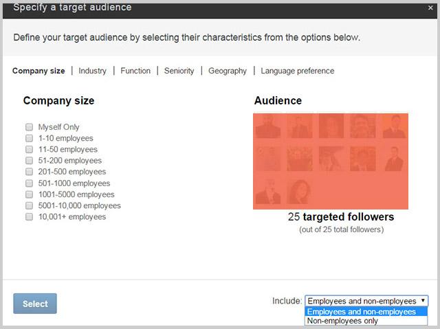brand page linkedin target