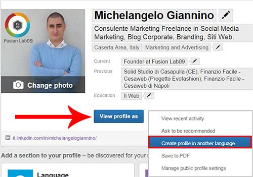 strumenti linkedin profilo in altre lingue