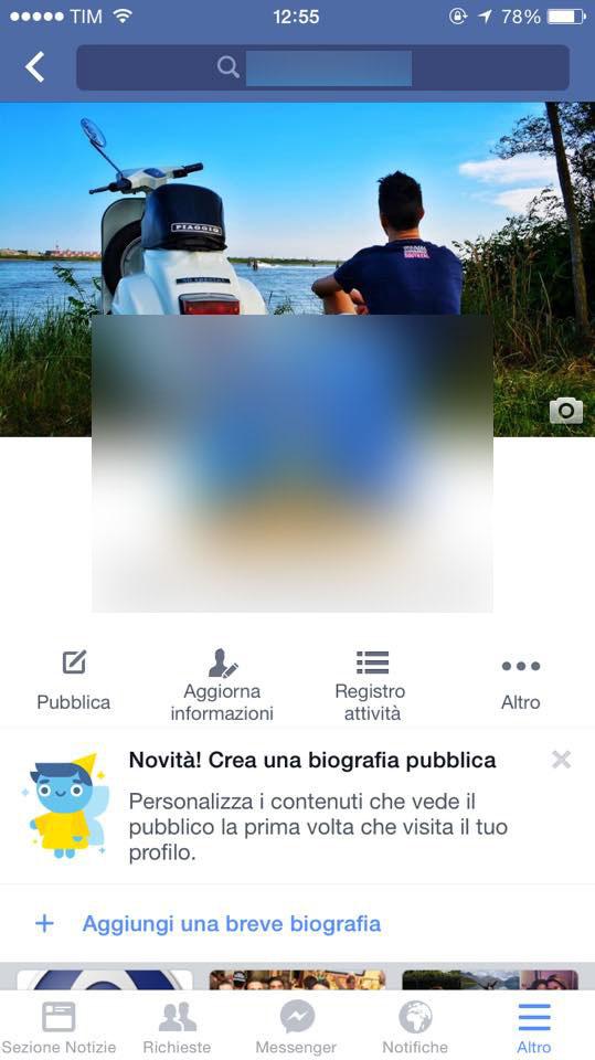 biografia facebook app mobile