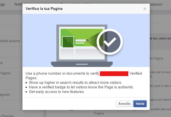 verificare fan page facebook passo 1