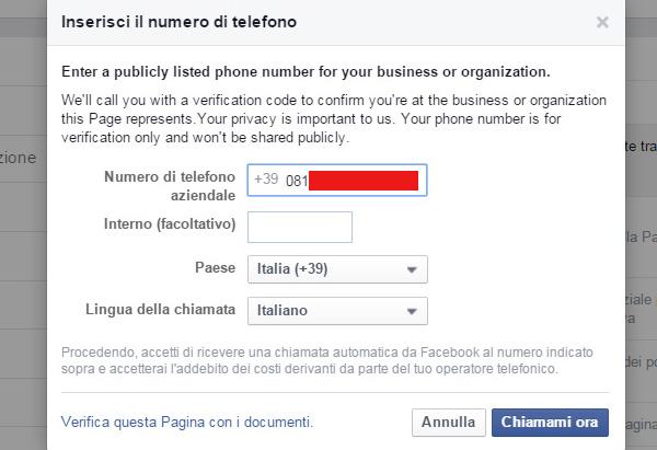 verificare una fan page facebook passo 2
